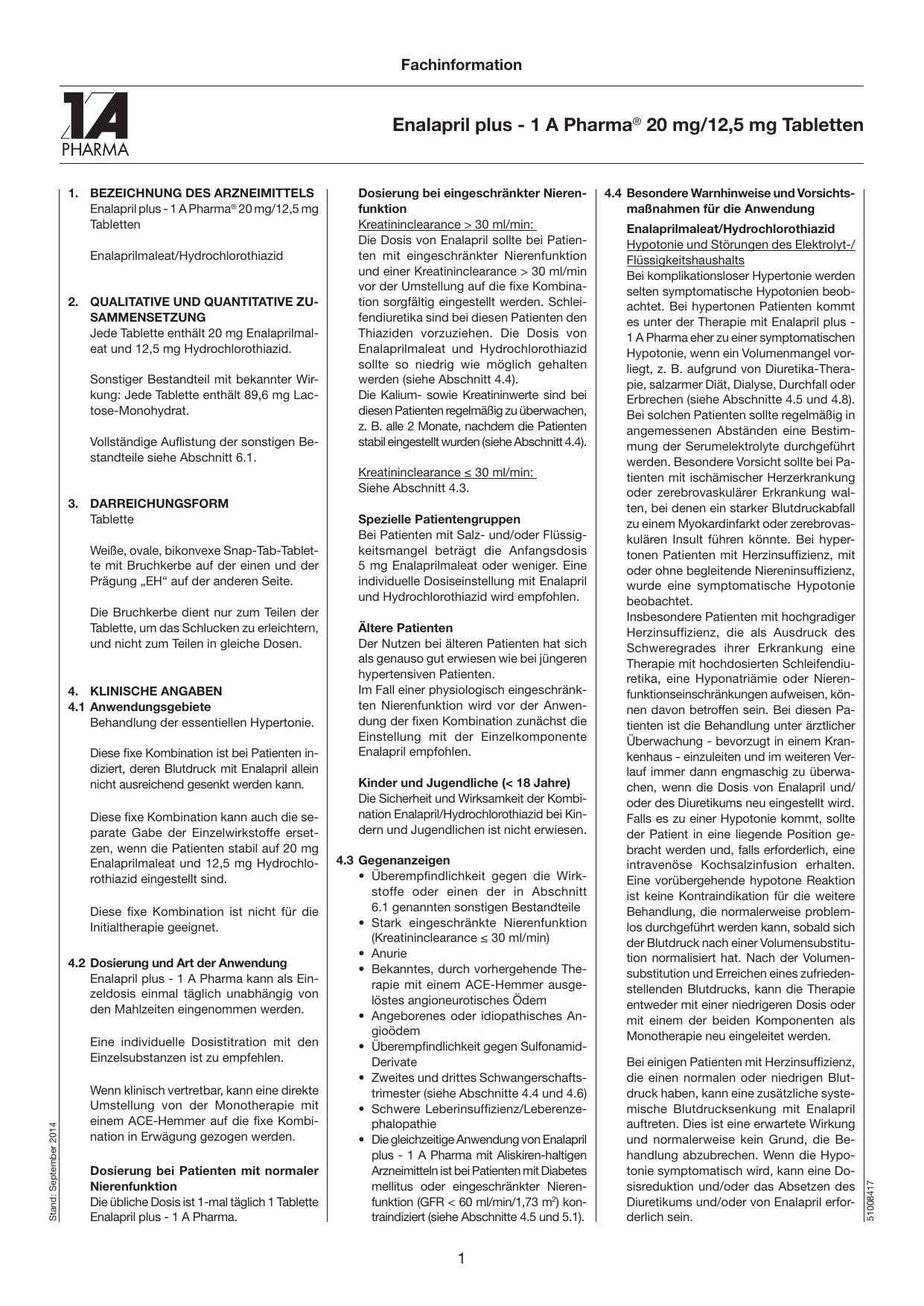 Enalapril plus - 1 A Pharma® 20 mg/12,5 mg Tabletten