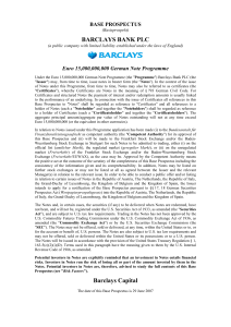 BARCLAYS BANK PLC Barclays Capital