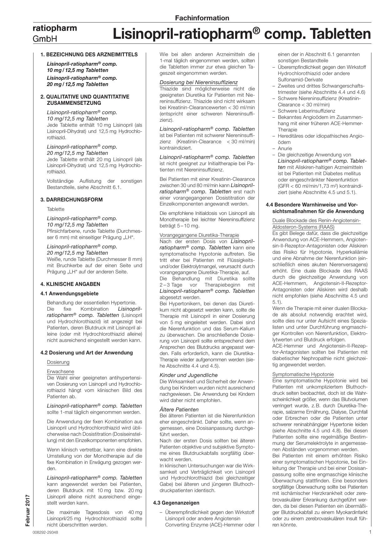 Lisinopril-ratiopharm® comp. Tabletten