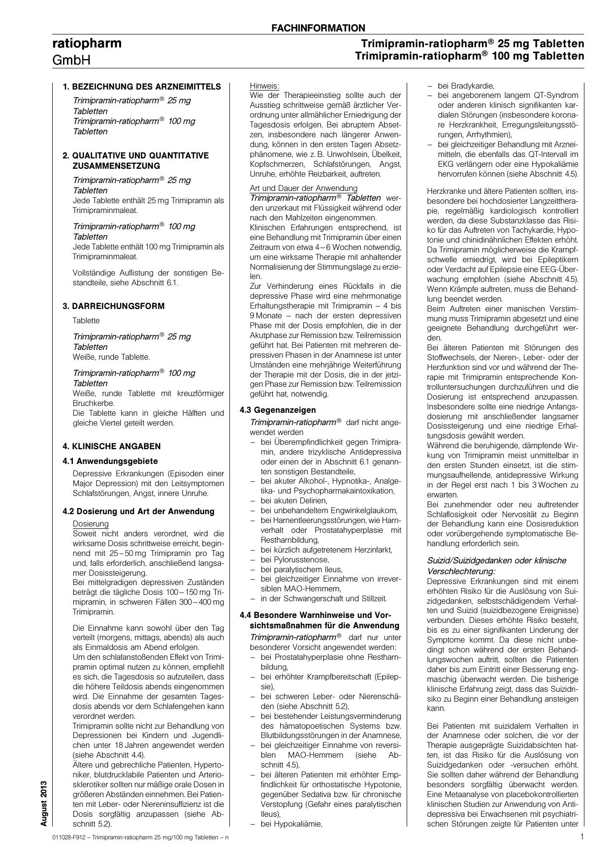 Trimipramin-ratiopharm® 25 mg Tabletten Trimipramin