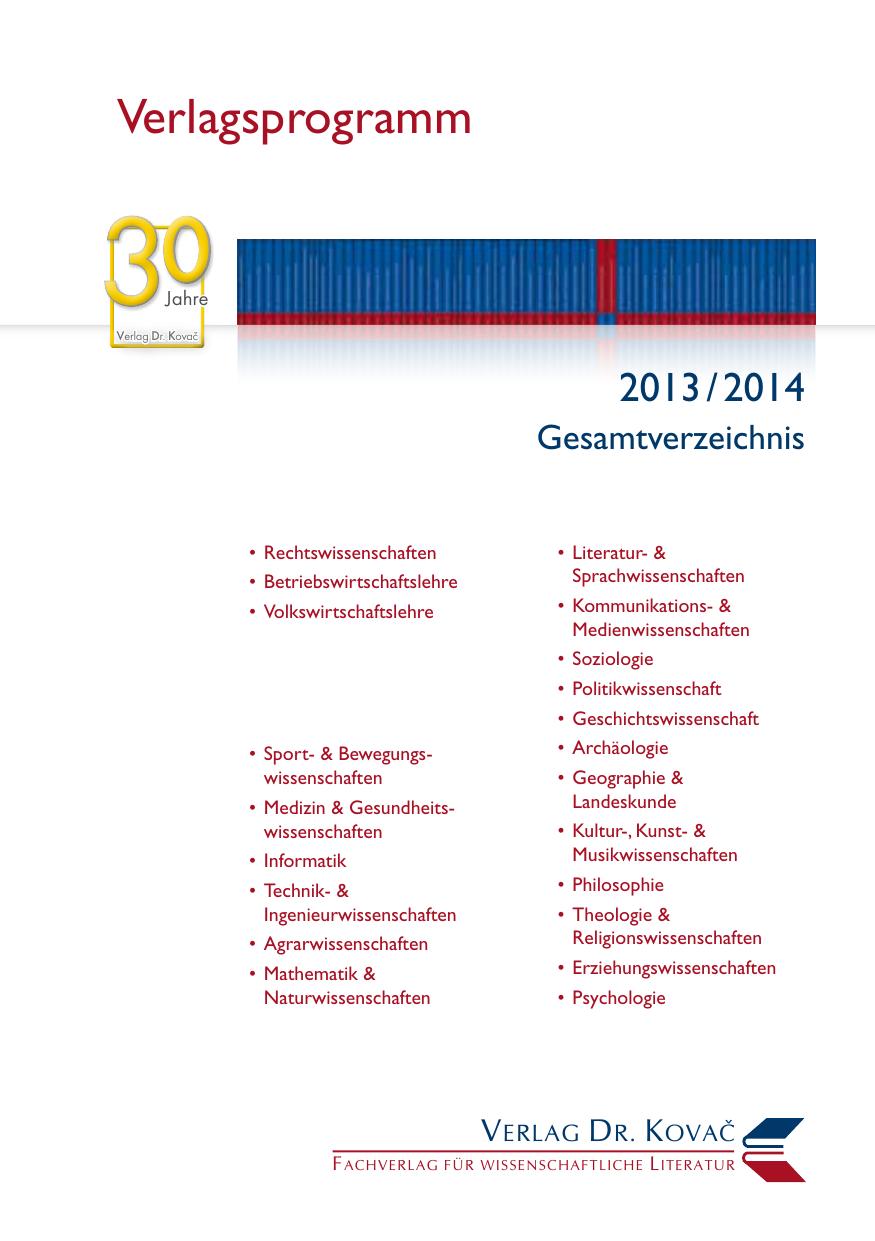 5d221905b3e4cc Verlagsprogramm - Verlag Dr. Kovac