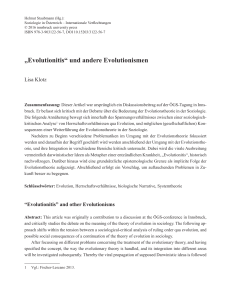 """Evolutionitis"" und andere Evolutionismen"