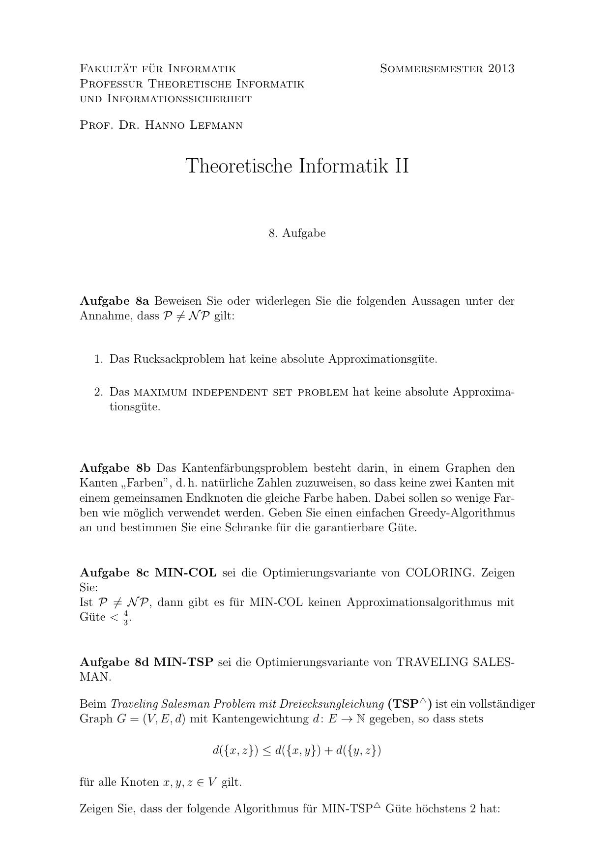 Theoretische Informatik II
