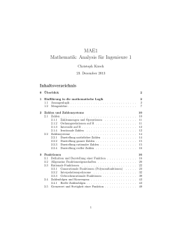 MAE1 Mathematik: Analysis für Ingenieure 1