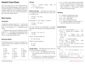 Haskell Cheat Sheet - Functional