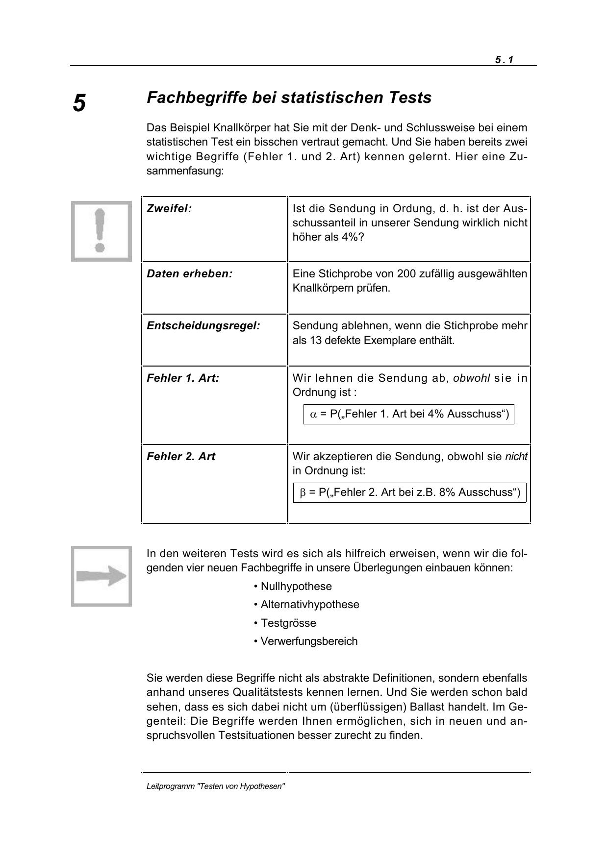 Fachbegriffe bei statistischen Tests