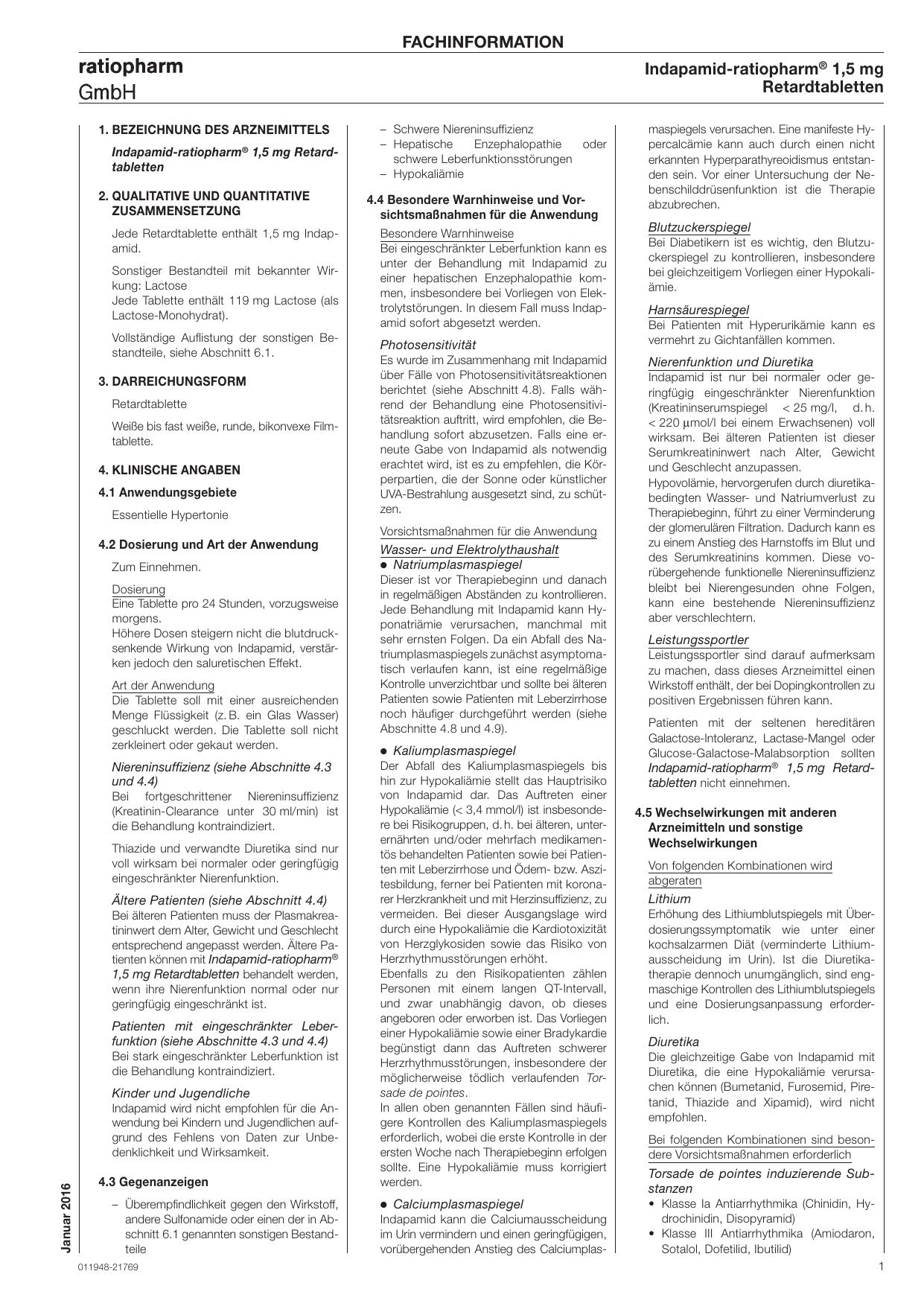 Indapamid-ratiopharm® 1,5 mg Retardtabletten