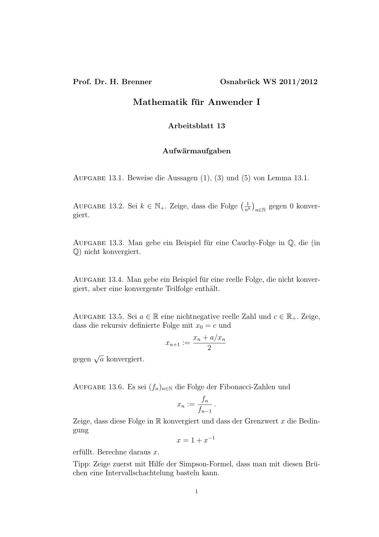Mathematik für Anwender I