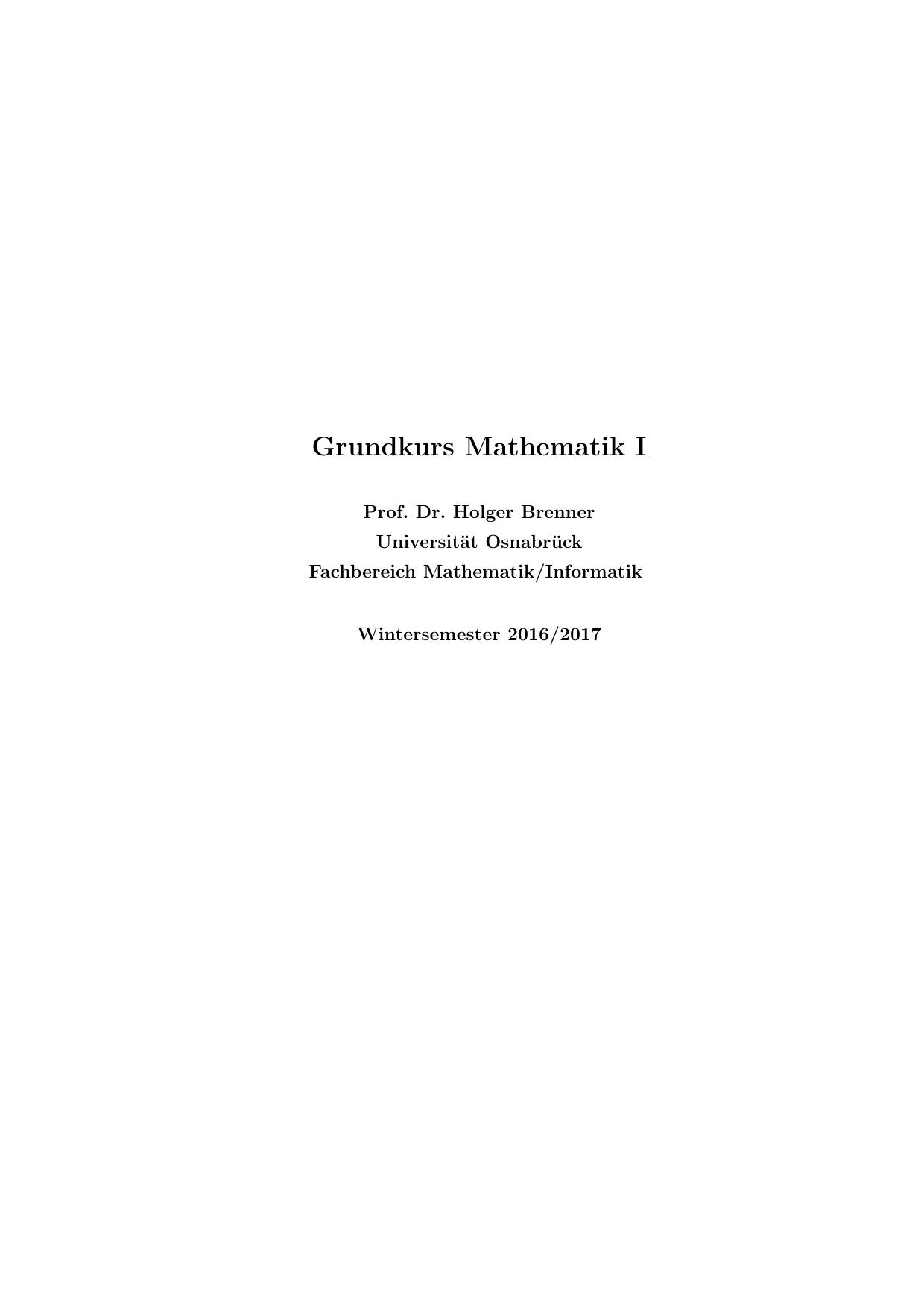 Grundkurs Mathematik I
