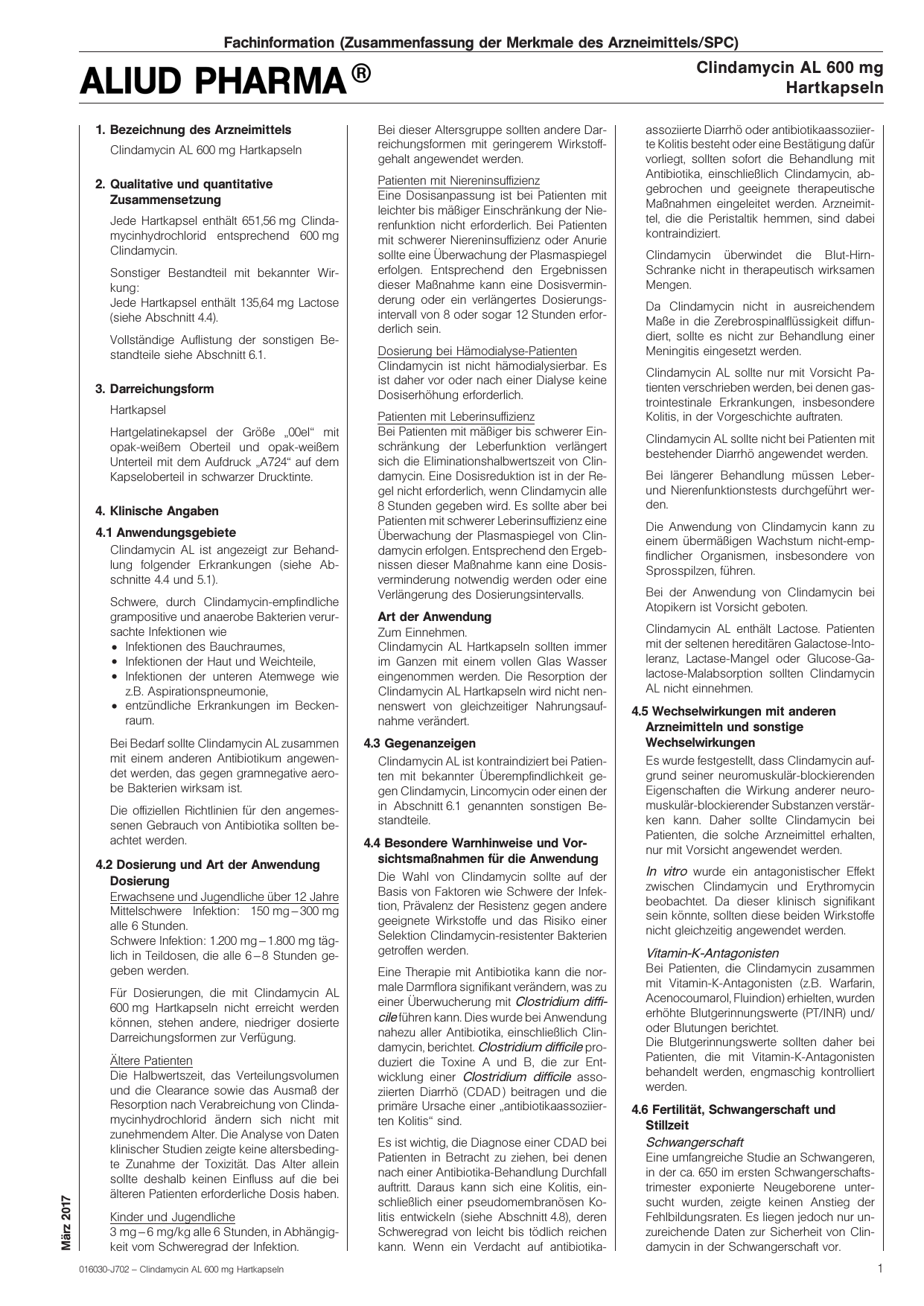 1777df6304 Clindamycin AL 600 mg Hartkapseln - SRZ