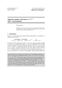 Algebraic numbers of the form P(T)Q(T) with T transcendental