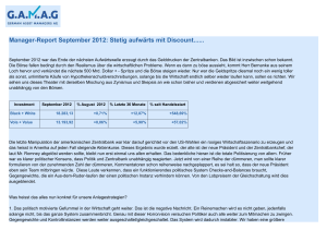 Manager-Report September 2012: Stetig aufwärts mit Discount...