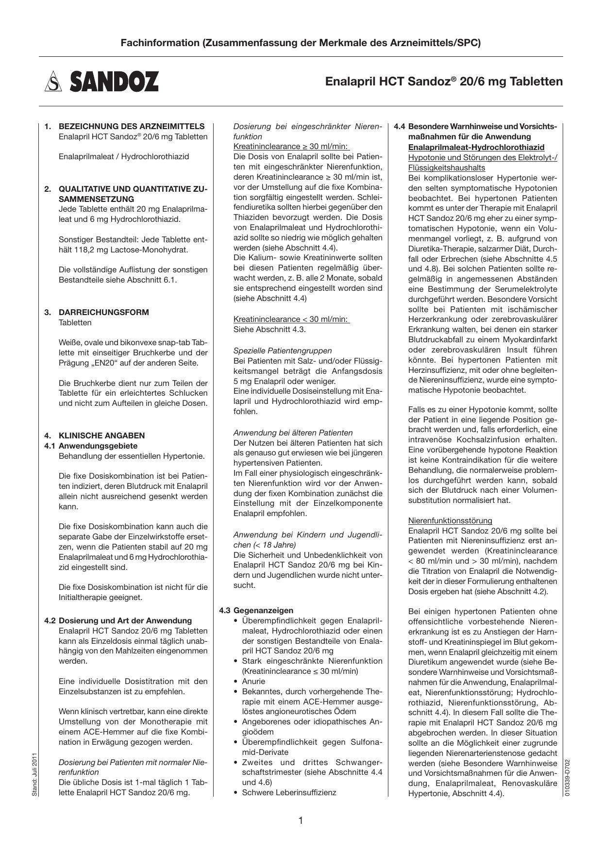 Enalapril HCT Sandoz® 20/6 mg Tabletten