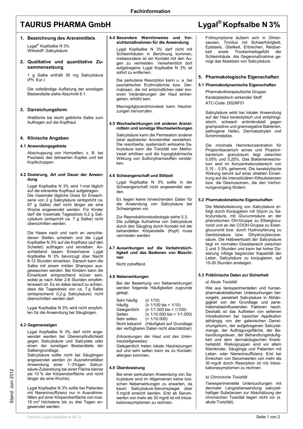 Fachinfo Lygal Kopfsalbe N 06-12 - Shop