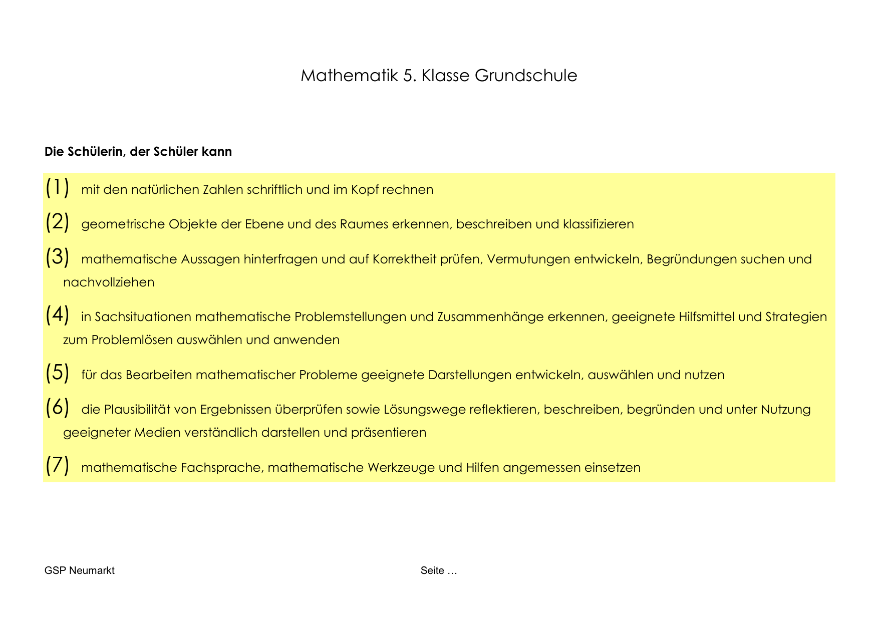 mathematik 5. Klasse GS - Grundschulsprengel Neumarkt