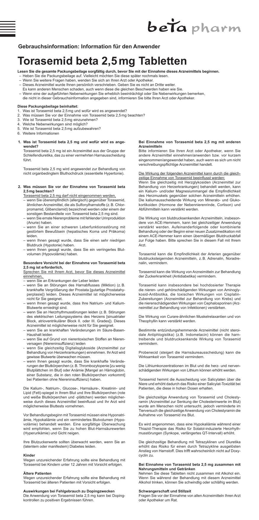 Torasemid beta 2,5 mg Tabletten - medikamente-per