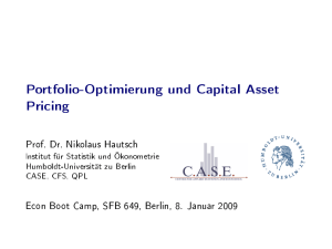 Portfolio-Optimierung und Capital Asset Pricing