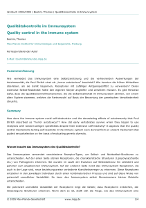 Qualitätskontrolle im Immunsystem Quality control in the immune