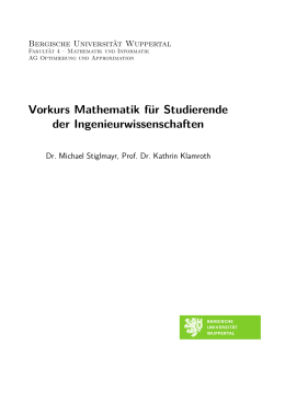 Vorkurs Mathematik - Komplexe Analysis