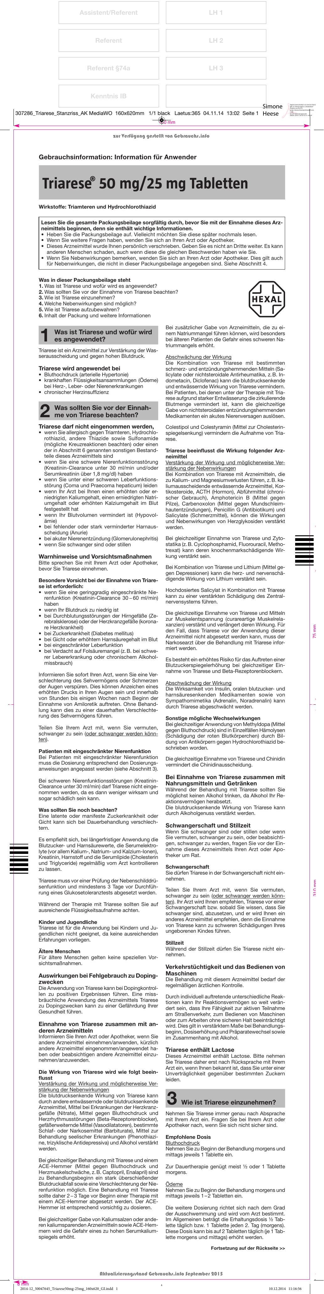 Triarese® 50 mg/25 mg Tabletten