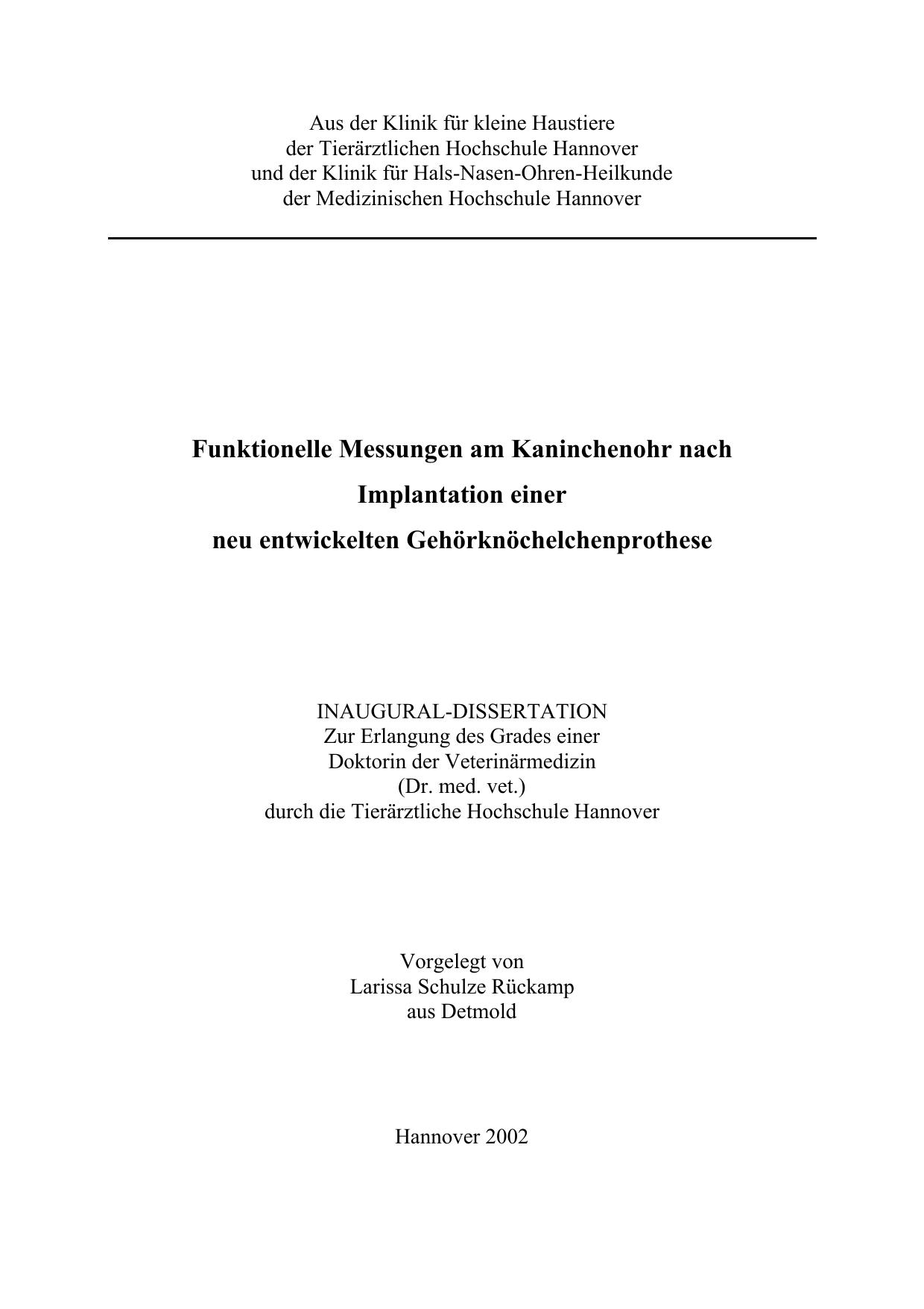 Funktionelle Einer Nach Kaninchenohr Am Messungen Implantation AL3Rj54