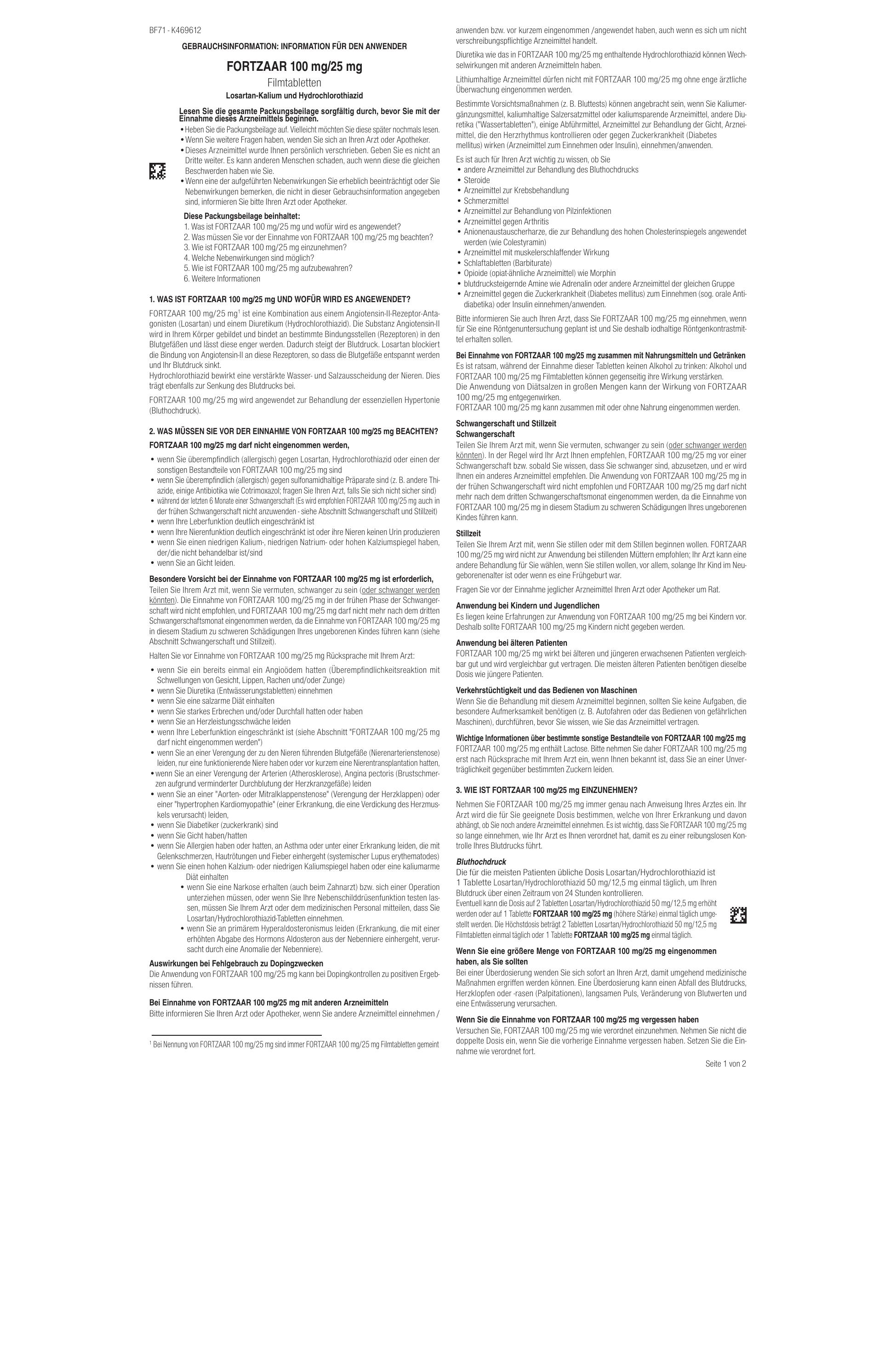 FORTZAAR 100 mg/25 mg - die-apotheke
