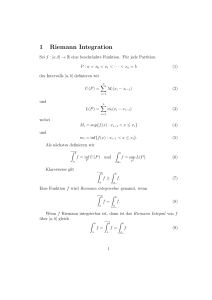 1 Riemann Integration