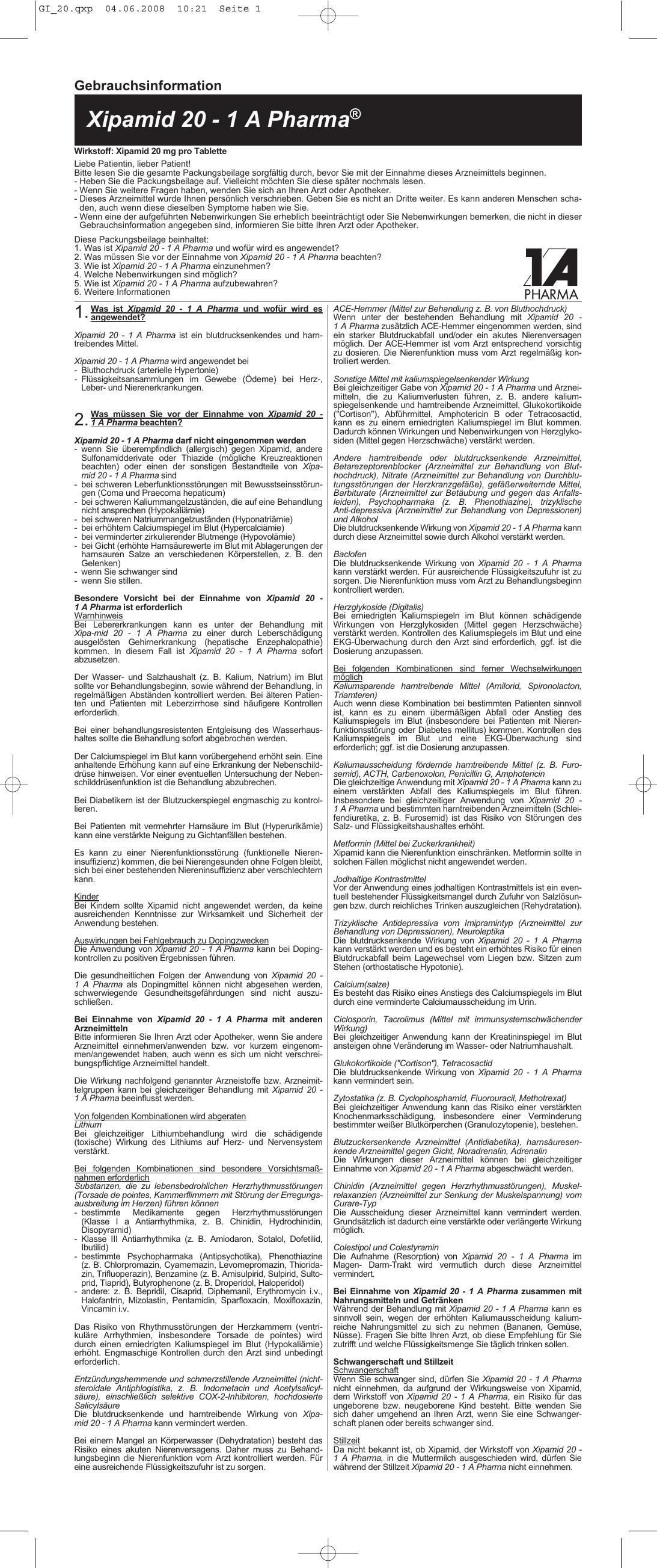 Xipamid 20 - 1 A Pharma - medikamente-per