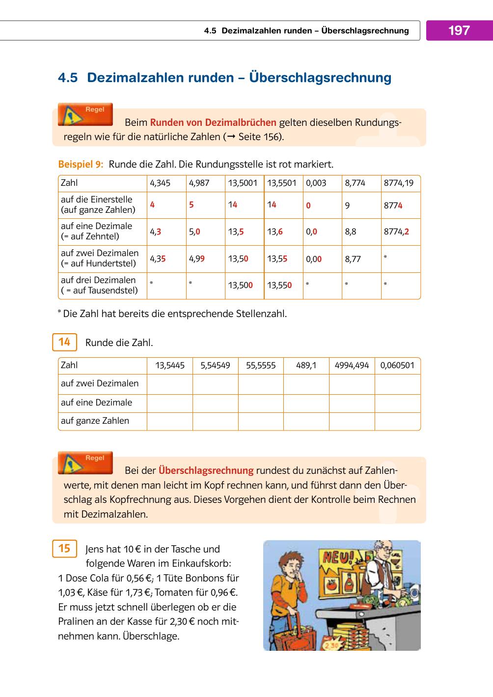 197 4.5 Dezimalzahlen runden – Überschlagsrechnung