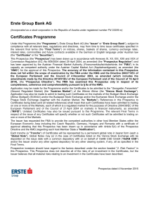 Erste Group Bank AG Certificates Programme