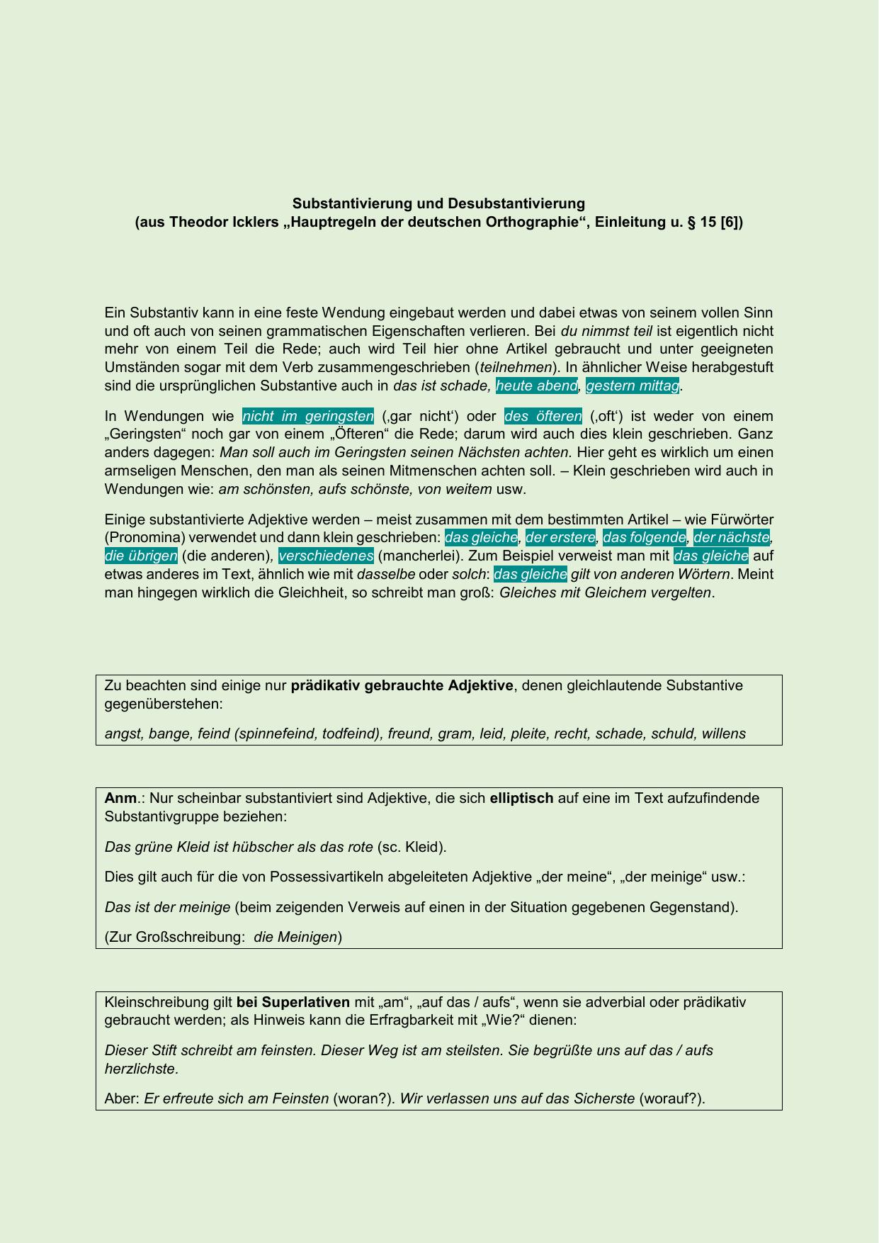 Substantivierung Und Desubstantivierung Aus Theodor