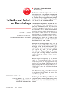 Indikation und Technik zur Thoraxdrainage