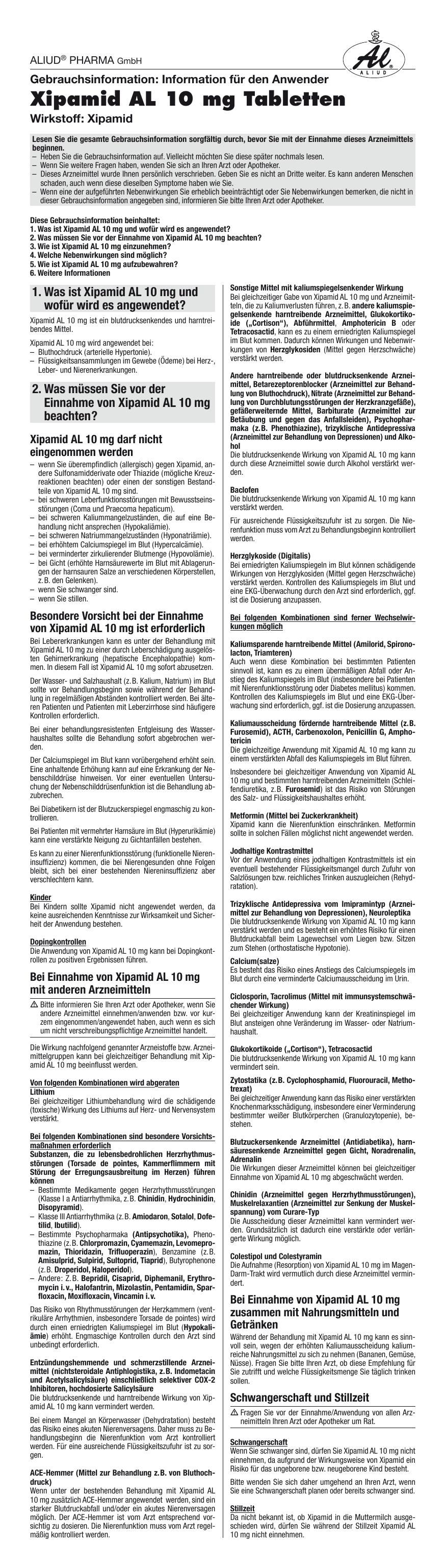 Xipamid AL 10 mg Tabletten - medikamente-per