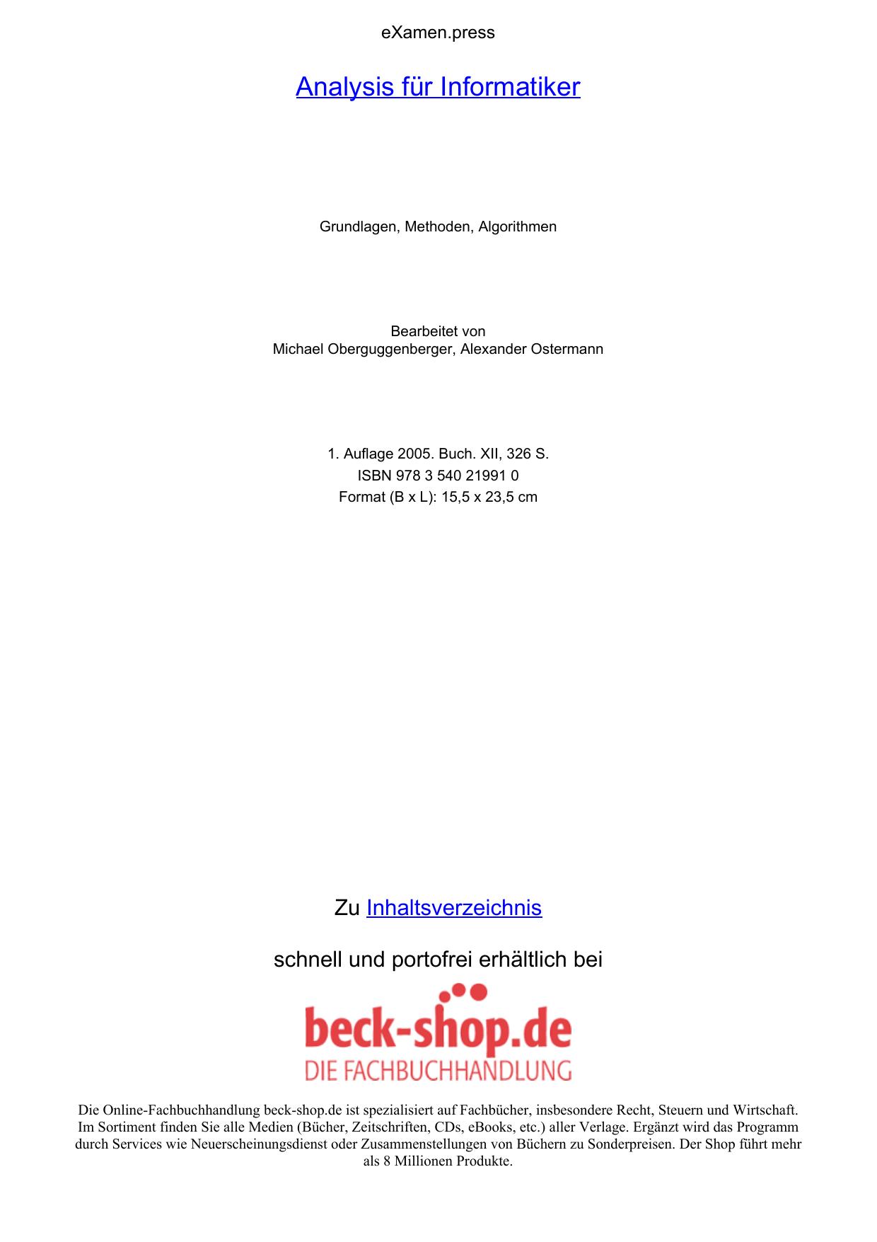 Analysis für Informatiker - ReadingSample - Beck-Shop