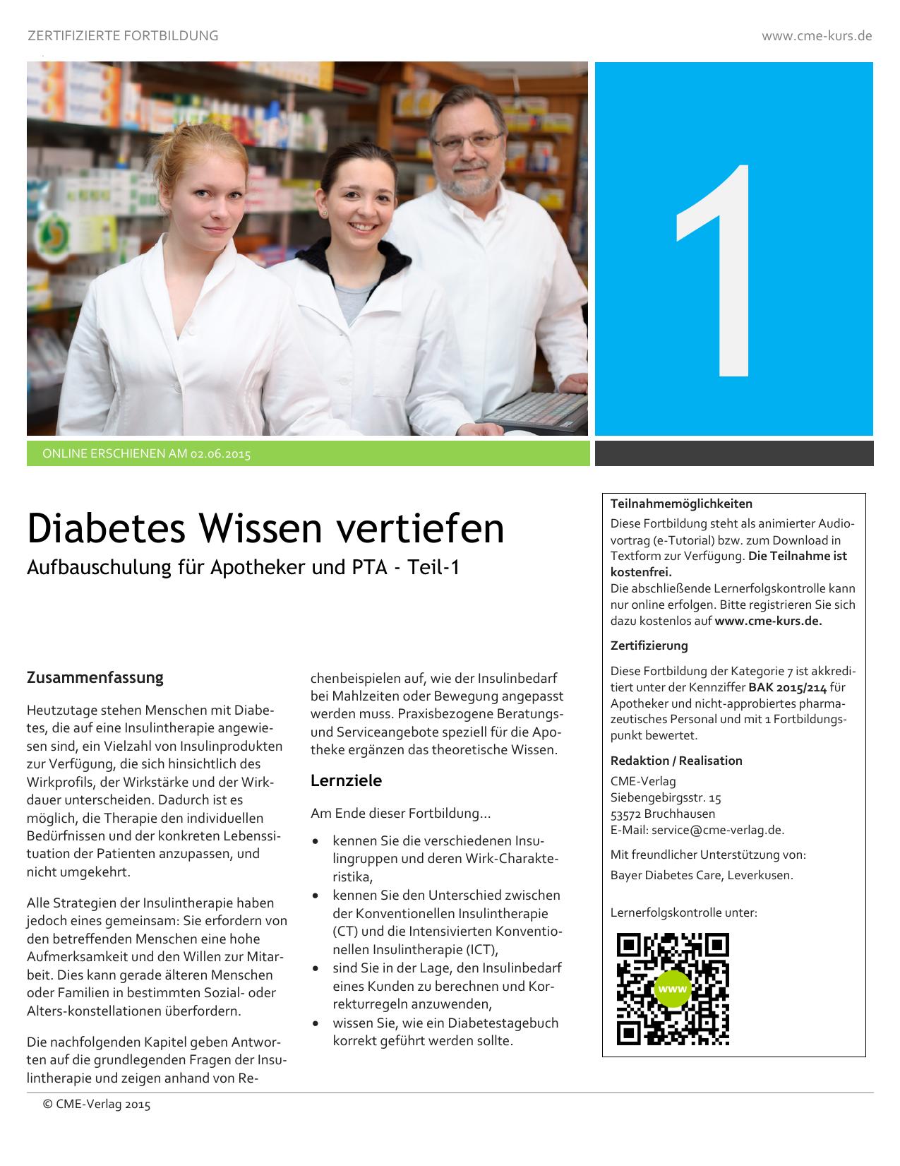 pta fortbildung diabetes mellitus