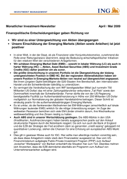 Monatlicher Investment-Newsletter April / Mai 2009
