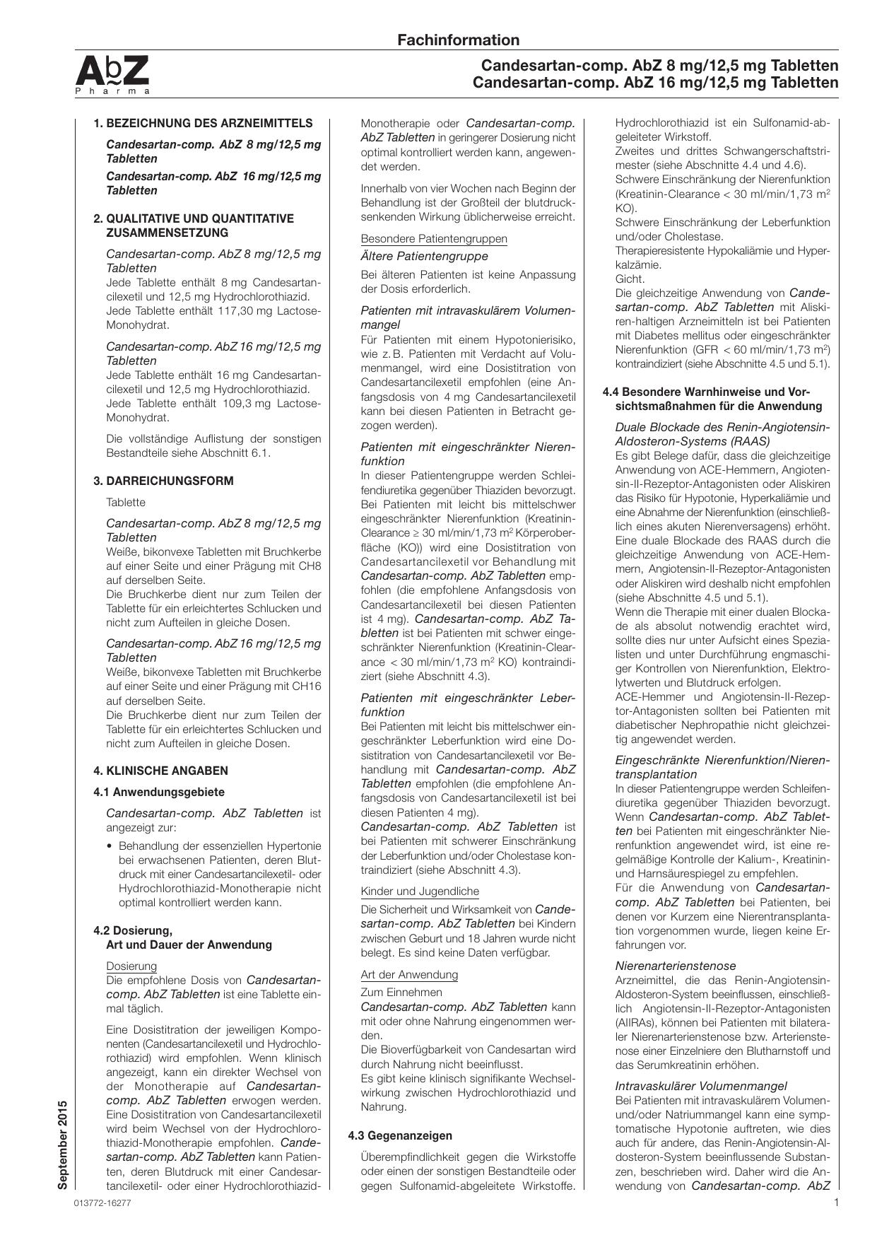 Candesartan-comp. AbZ 8 mg/12,5 mg Tabletten Candesartan