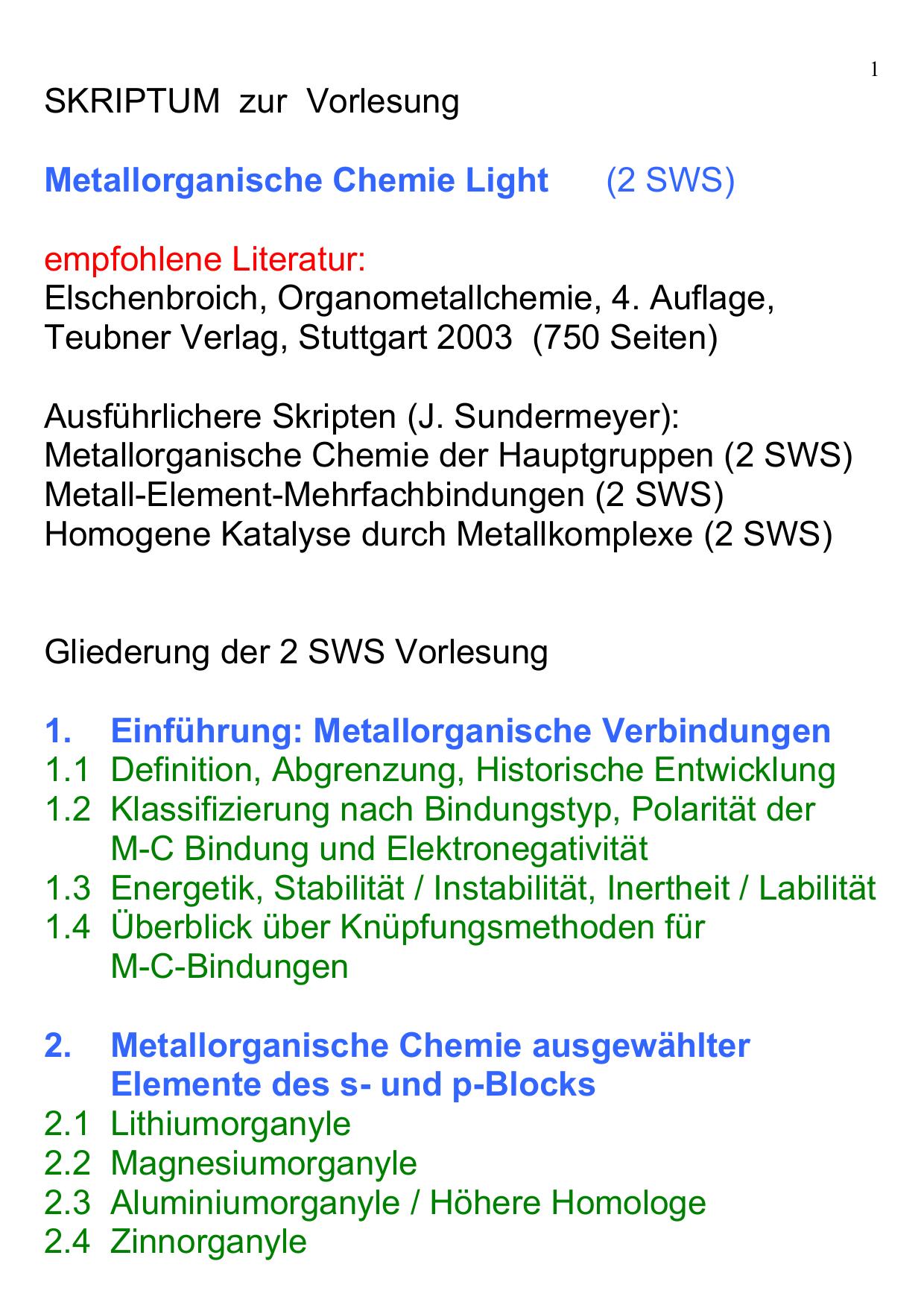 Skriptum Zur Vorlesung Metallorganische Chemie