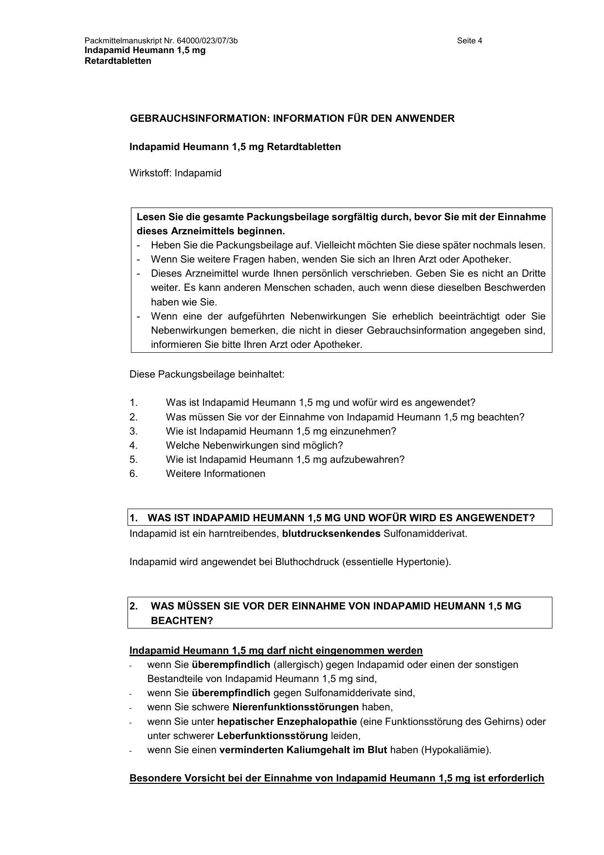 Indapamid Heumann 20,20 mg Retardtabletten   medikamente