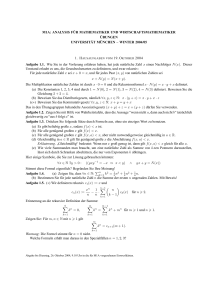 M1A: ANALYSIS F ¨UR MATHEMATIKER UND