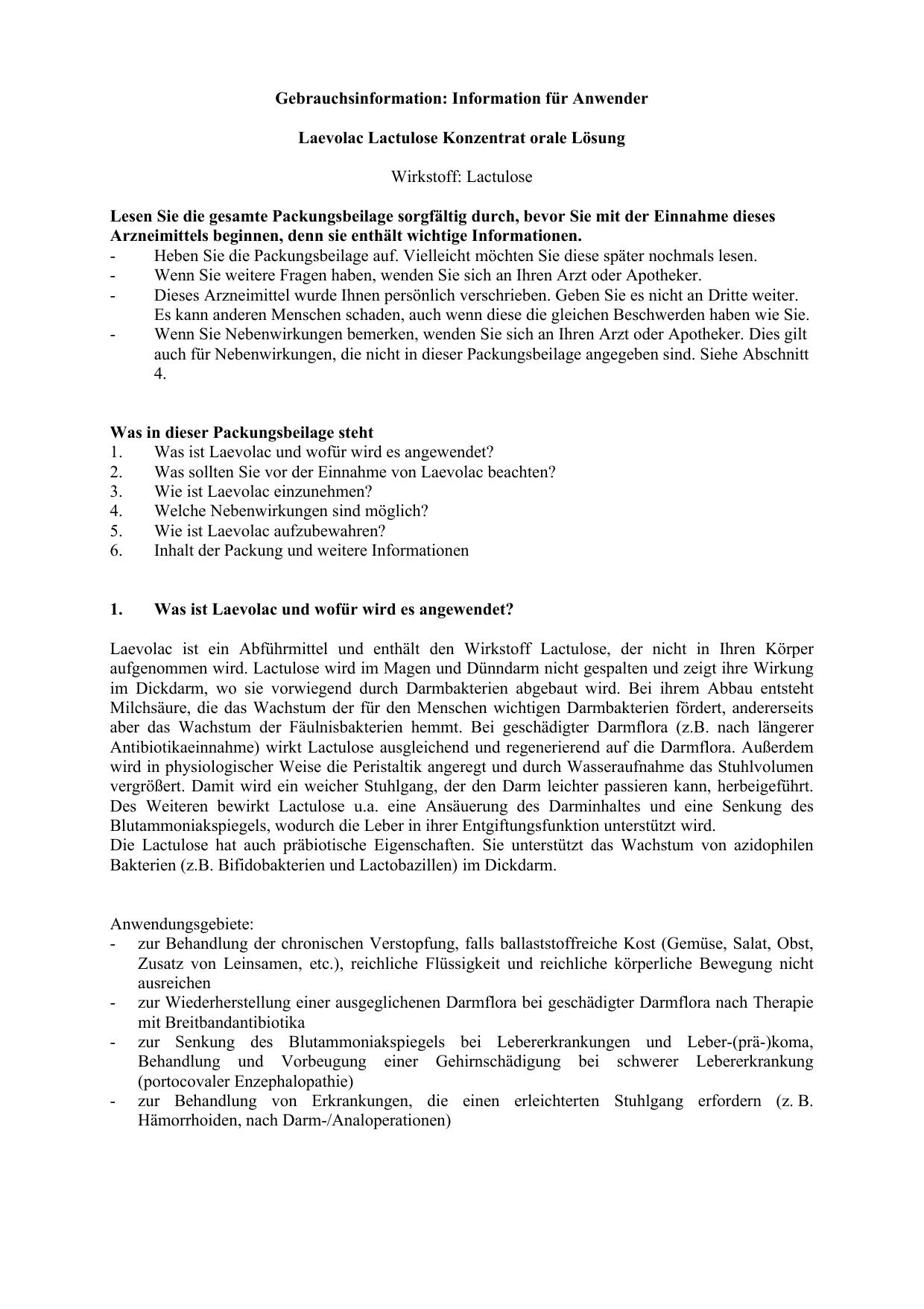 Gebrauchsinformation Information Für Den Anwender