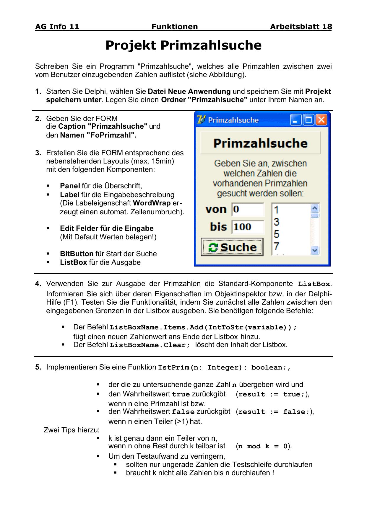 Projekt Primzahlsuche