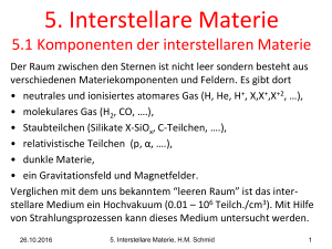 5. Interstellare Materie