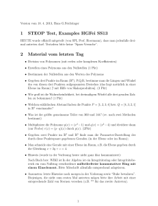 1 STEOP Test, Examples HGFei SS13 2 Material vom letzten Tag