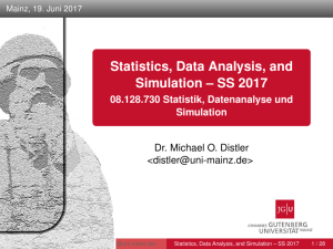 Statistics, Data Analysis, and Simulation – SS 2017