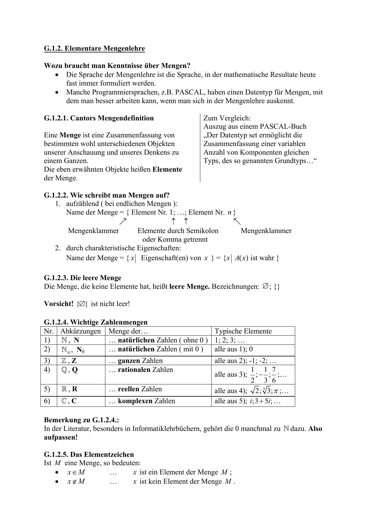 G12 Elementare Mengenlehre Wozu Braucht Man Kenntnisse über