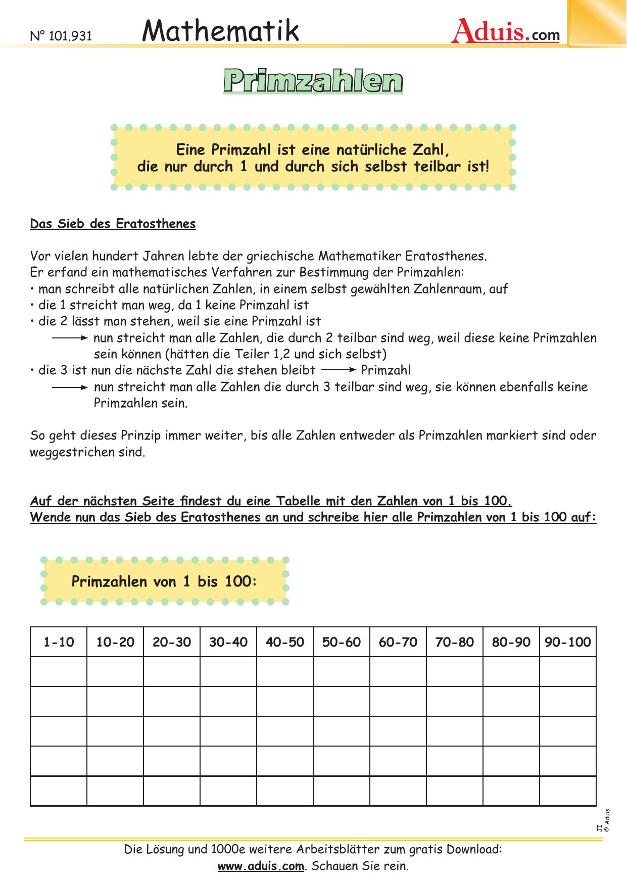 Großzügig Primzahlen Arbeitsblatt Fotos - Super Lehrer ...