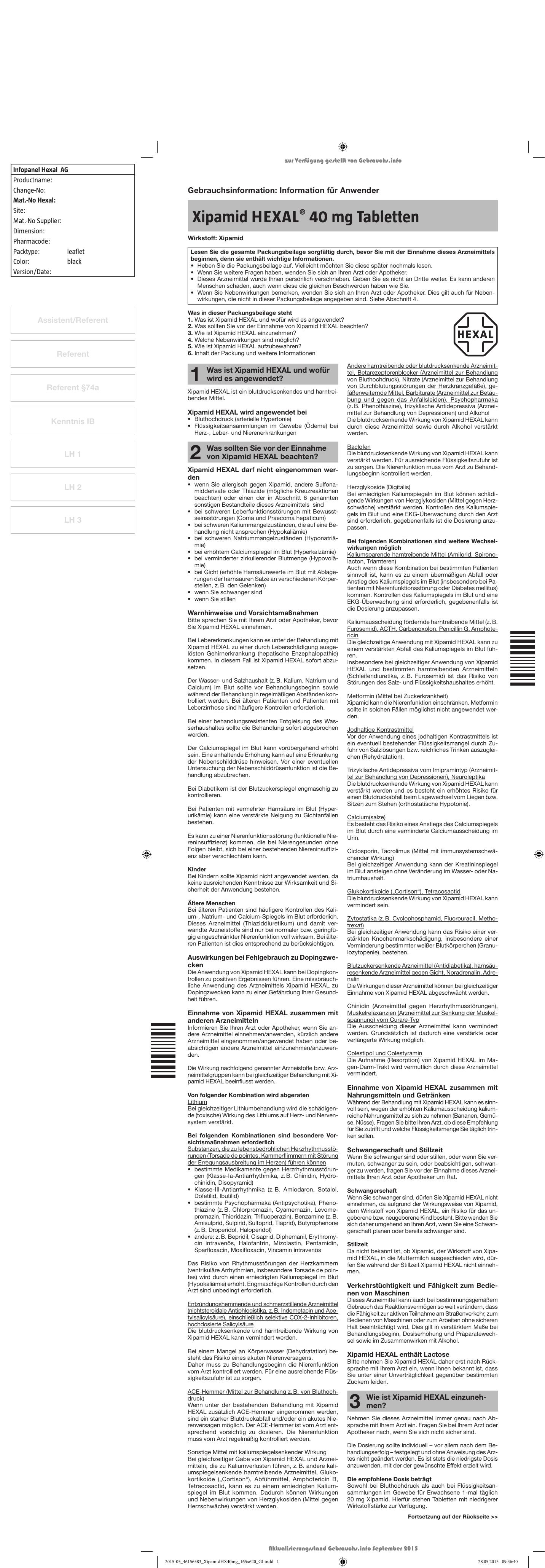 Xipamid HEXAL® 40 mg Tabletten - Shop