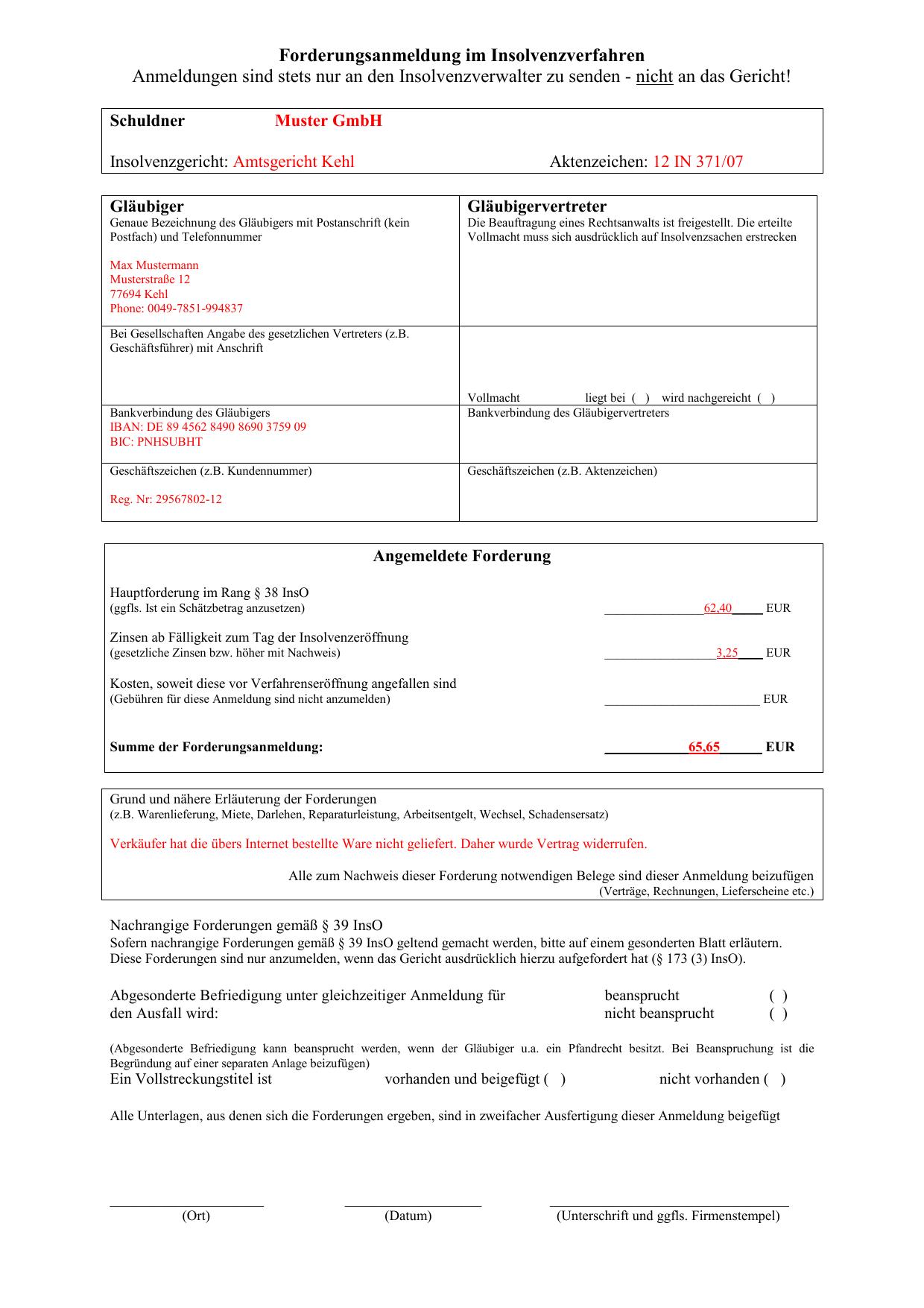 Muster Forderungsanmeldung Insolvenz