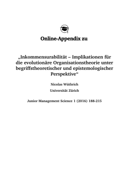 Online-Appendix zu - Junior Management Science